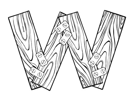Wooden letter W engraving vector illustration