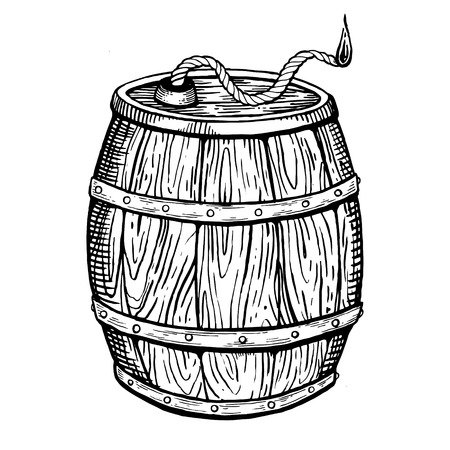 Powder keg engraving vector illustration Illustration
