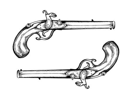 Vintage pistols engraving illustration.
