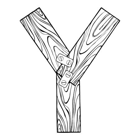 Lettre en bois Y illustration de gravure. Banque d'images - 89919336