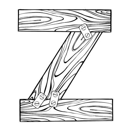 Wooden letter Z engraving illustration.