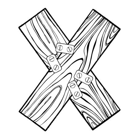 Houten letter X gravure vectorillustratie. Lettertype kunst. Krasplankstijl imitatie. Hand getrokken afbeelding.