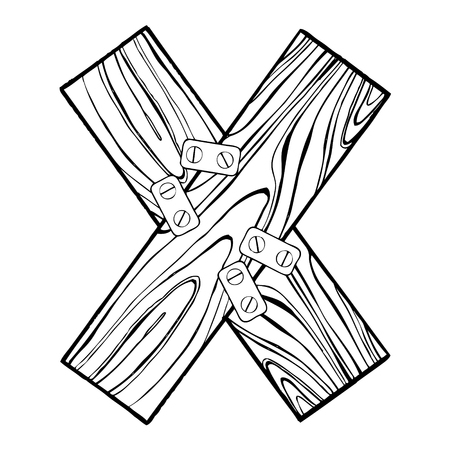 Wooden letter X engraving vector illustration. Font art. Scratch board style imitation. Hand drawn image. 向量圖像