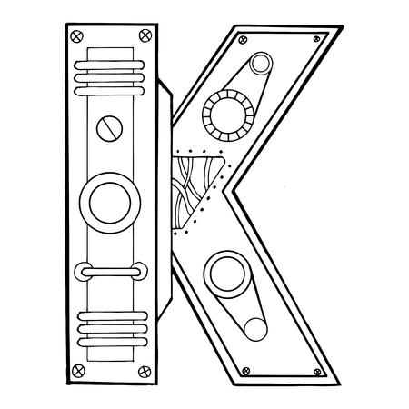 Mechanische Stichvektorillustration des Buchstaben K. Schriftkunst. Scratch-Board-Nachahmung. Hand gezeichnetes Bild. Standard-Bild - 89928487
