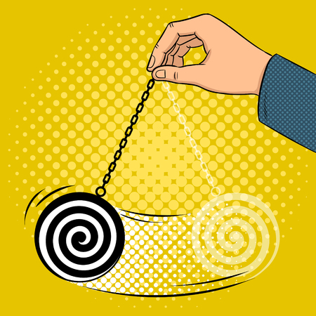 Hypnotizer pendulum in hand pop art retro vector illustration. Comic book style imitation.