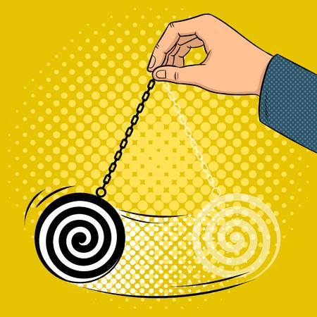 Hypnotizer pendulum in hand pop art retro vector illustration. Comic book style imitation.