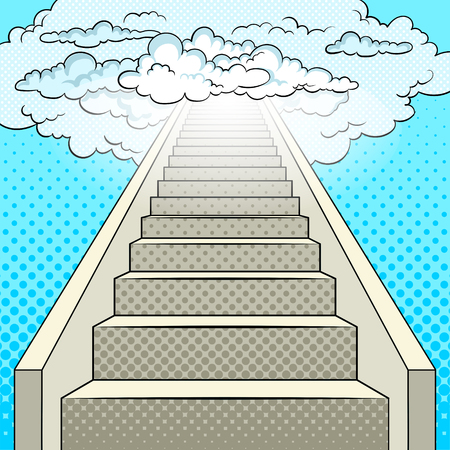 Stairway to heaven pop art retro illustration. Comic book style imitation.