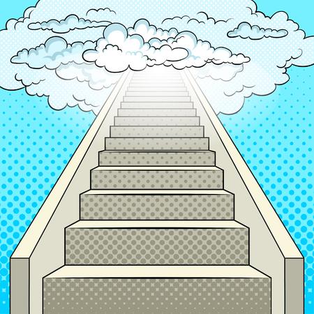 Stairway to heaven pop art retro illustration. Comic book style imitation.