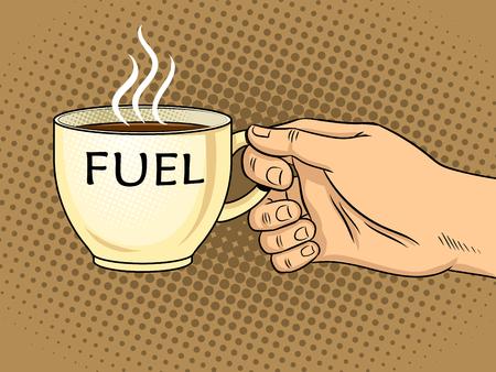Cup of coffee in hand pop art vector
