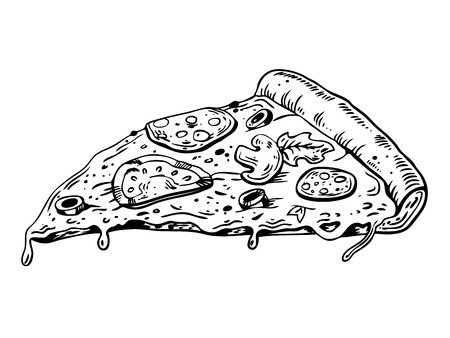 Slice of pizza engraving vector illustration