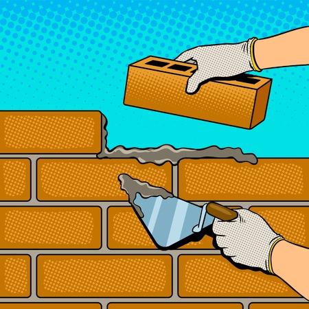 Wall building process pop art vector 스톡 콘텐츠