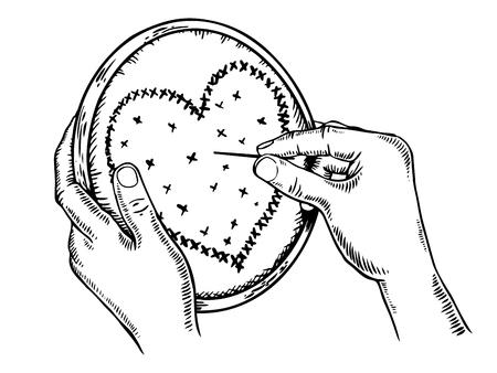 Heart fancywork engraving vector