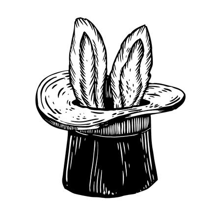 Bunny oren in goochelaar hoed gravure vector Stock Illustratie