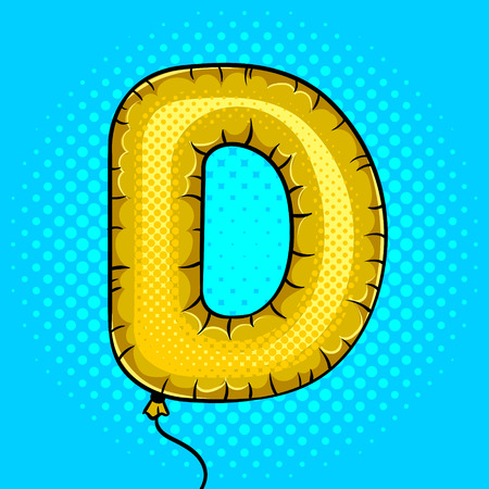 Air balloon in shape of letter D pop art vector  イラスト・ベクター素材