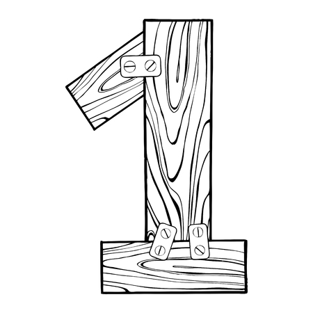 Wooden number 1 engraving vector illustration Фото со стока - 90434507