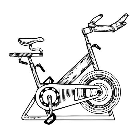 Sport apparatuur fiets gravure vectorillustratie. Krasplankstijl imitatie. Hand getrokken afbeelding.