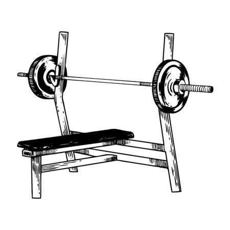 Sport equipment bench barbell engraving vector