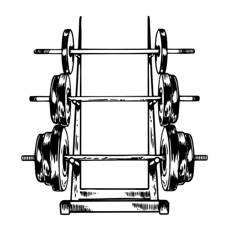 Sport equipment stand barbell engraving vector