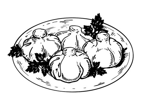 Khinkali eten gravure vectorillustratie