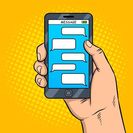 Smart phone messaging pop art vector Çizim