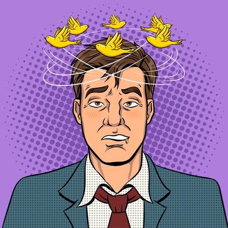 Dronken man met vogels pop art vector Stockfoto