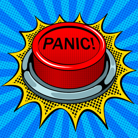 Panic red button pop art vector illustration