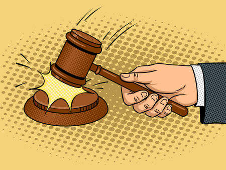 Judge hammer pop art vector illustration