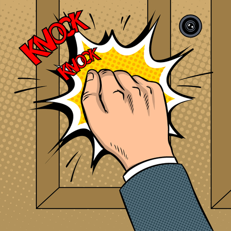 Hand knokning door pop art vector illustration Banco de Imagens