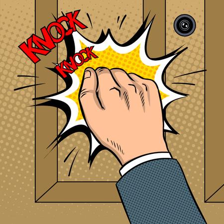 Mano knokning ilustración de vector de arte pop puerta Foto de archivo - 90836942
