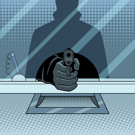 Bank robbery with gun pop art vector illustration Stok Fotoğraf