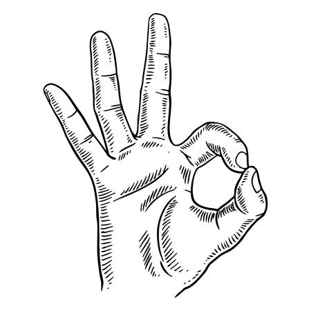 Hand with ok gesture engraving vector illustration