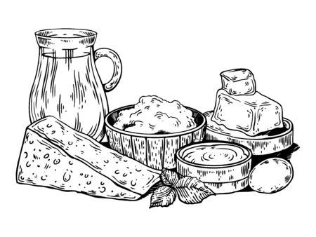 Melkvoedingsmiddelen die vectorillustratie graveren