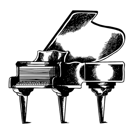 Grand piano engraving illustration.