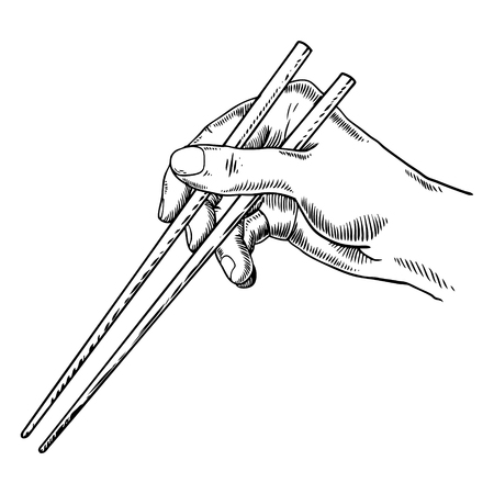 Chopsticks in hand engraving vector illustration.