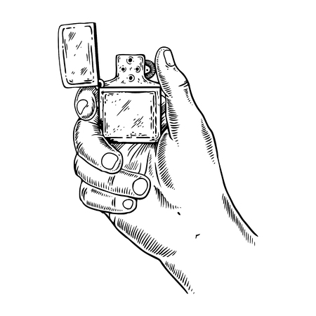 Lighter in hand illustration.