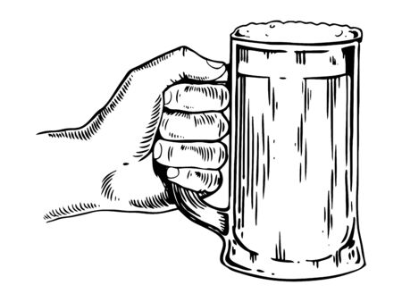 Beer mug in hand engraving vector illustration
