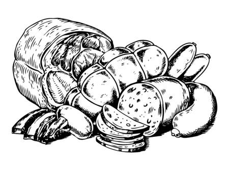 肉製品のベクトル図を彫刻