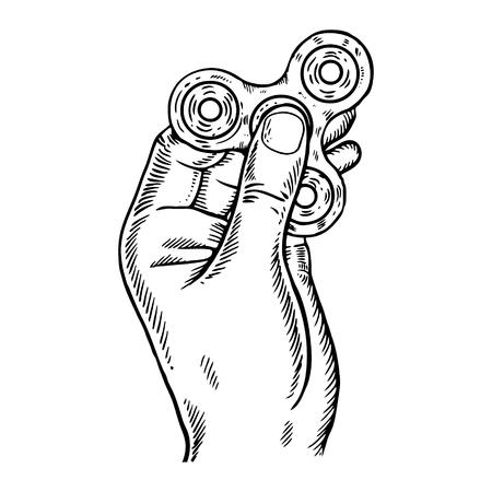Spinner in hand engraving vector illustration.