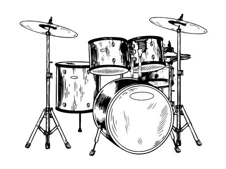 Drum set incisione illustrazione vettoriale. Vettoriali
