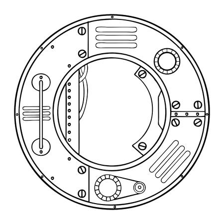 Mechanical letter O engraving vector illustration. Ilustracja