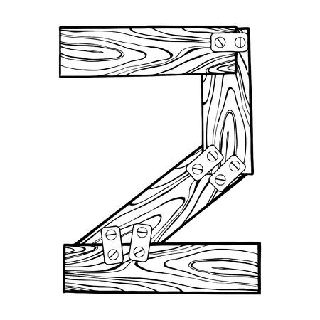 Wooden number 2 engraving vector illustration