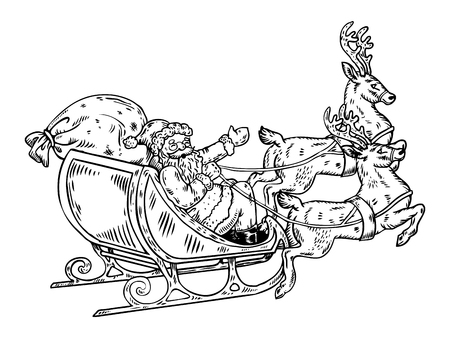 Santa Claus sleigh with reindeer engraving vector