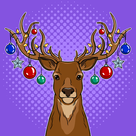 Christmas deer with toys pop art vector