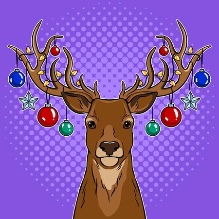 Christmas deer with toys pop art vector