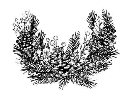 クリスマスの花輪彫刻ベクトル イラスト。スクラッチ ボード スタイルの模倣。手描きイメージ。  イラスト・ベクター素材