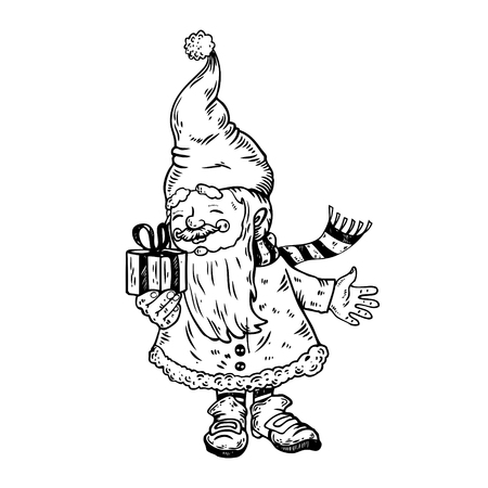 Gnome Santa Claus helper with gift box hand drawn image. Vettoriali