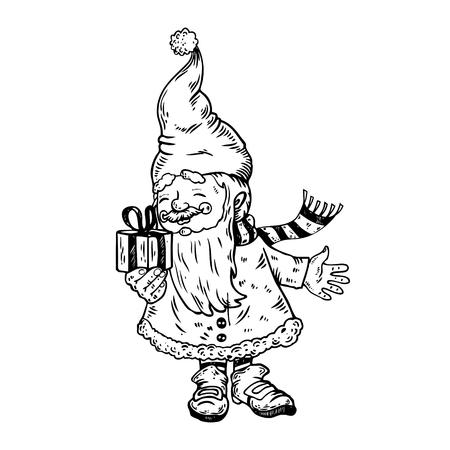 Gnome Santa Claus helper with gift box hand drawn image.