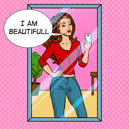 Girl making selfie in the mirror pop art retro vector illustration. Ilustracja