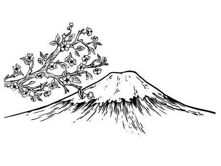 후지산과 일본 벚꽃 조각 벡터 일러스트 레이 션. 스크래치 보드 스타일 모방. 손으로 그린 된 이미지입니다.