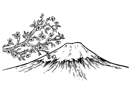 Mount Fuji and Japan cherry blossom engraving vector illustration. Scratch board style imitation. Hand drawn image.
